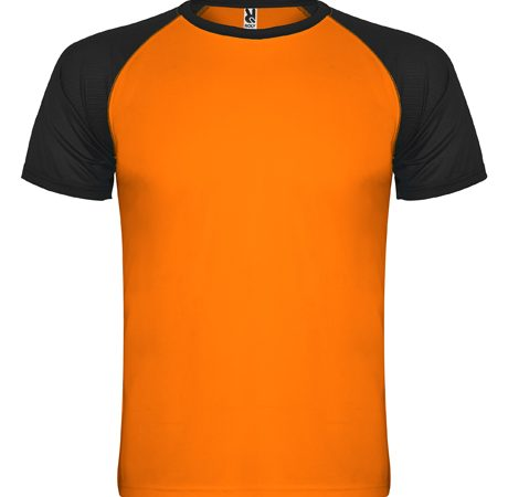 camiseta tecnica roly indianapolis naranja-negro